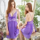情趣 角色服 睡衣 內衣 ★大尺碼Annabery優紫色柔紗Y字美背後開襟二件式睡衣★紫色┌NY18020040