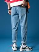 熱銷牛仔褲夏季薄款褲子男韓版潮牌破洞闊腿九分牛仔褲男寬鬆直筒墜感老爹褲