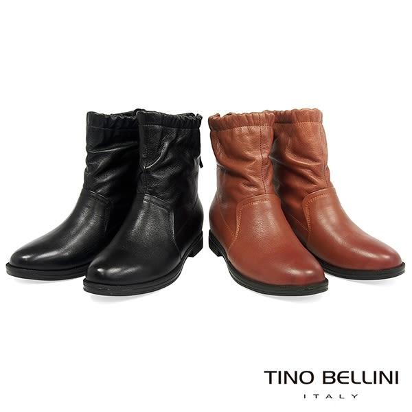 Tino Bellini 自然不對稱抓皺內增高中筒靴 _ 黑 FS8513