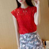 夏季新款韓版時尚女裝無袖蕾絲衫寬鬆顯瘦打底衫百搭t恤上衣日系森林