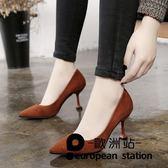 高跟鞋/女細跟貓跟鞋尖頭中跟單鞋女「歐洲站」