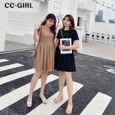 中大尺碼 純色A字百褶裙短袖洋裝~共兩色 - 適XL~4L《 68149 》CC-GIRL