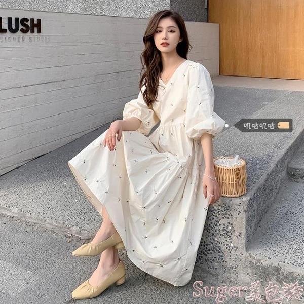 棉麻洋裝 大碼女裝連身裙2021新款春夏胖妹妹棉麻刺繡遮肉顯瘦赫本風裙子女 新品