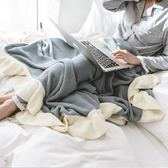 ins北歐簡約針織毯全棉毛毯蓋毯 沙發毯純色荷葉邊午睡休閒毯薄毯