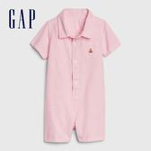 Gap 嬰兒 棉質舒適襯衫式包屁衣 542756-純粉色