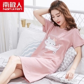 韓版睡裙女士夏純棉短袖睡衣夏季薄款春秋春可愛卡通家居服『艾麗花園』