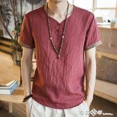 中國風男裝刺繡亞麻T恤男短袖寬鬆大碼薄款休閒盤扣復古棉麻上衣  西城故事