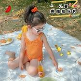 兒童一體式泳衣套裝夏款女寶寶可愛比基尼三角式泳裝兩件套潮 快速出貨