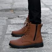 冬季防水雪地靴男長靴子韓版潮鞋加絨保暖棉鞋休閒皮鞋高幫馬丁靴 韓慕精品