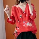 大碼女裝雪紡復古盤扣上衣長袖印花中式斜襟系帶亞麻寬鬆襯衫【聚物優品】