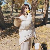 梨卡 - 夢幻白超甜美氣質毛領短版短款防風保暖連帽鋪棉仿羽絨外套風衣大衣AR030