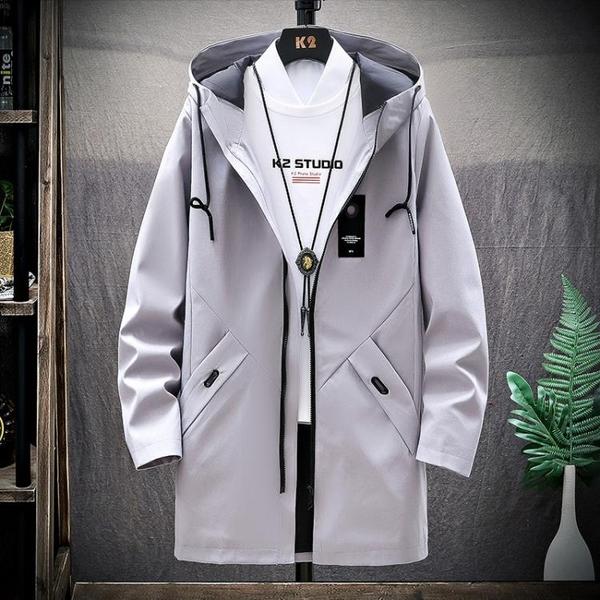 外套夾克 風衣男士休閒春秋季韓版服裝中學生潮流寬鬆青少年外套中長款夾克 果果生活館