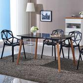 北歐現代簡約休閒椅子 鐵藝塑料靠背戶外創意鏤空餐廳餐椅【卡米優品】