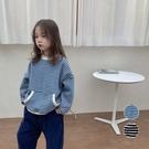 條紋前口袋造型棉絨加厚長袖上衣 條紋 衛衣 中性款 男童 女童 中童 兒童 童裝 橘魔法 現貨