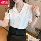 白色短袖V領雪紡上衣女設計感小眾職業氣質女士襯衫2021夏季新款 美眉新品
