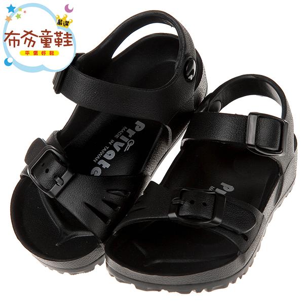 《布布童鞋》PRIVATE台灣製超輕量黑色兒童涼鞋(15~22公分) [ Q8B891D ]