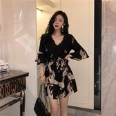 連體衣新款韓版印花連體褲套裝女夏寬鬆高腰雪紡洋氣闊腿短褲 新北購物城