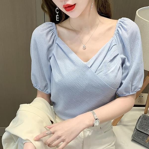 法式泡泡袖設計感v 領襯衫上衣短袖D413依佳衣