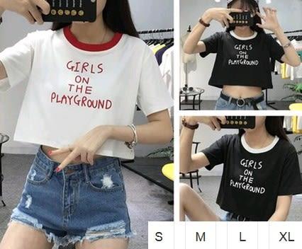 EASON SHOP(GU1370)短款英文印刷撞色領圓領短袖T恤S-XL韓國短版女上衣白棉T露肚臍閨蜜裝紅色黑色