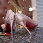 金銀婚鞋新娘超高跟鞋細跟尖頭亮片淺口單鞋女【格林世家】