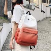 日系書包古著感少女背包韓版新款漸變後背包帆布高中學生書包☌zakka