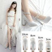 粗跟高跟鞋 銀色白色中跟伴娘時尚甜美韓版防水臺水晶鞋 DN9014【Pink中大尺碼】