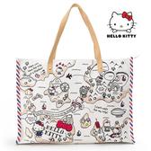 凱蒂貓 經典帆布肩背包 高質感 Kitty 三麗鷗 日本正版 該該貝比日本精品 ☆