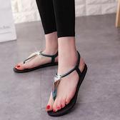 新款歐美平底夾趾涼鞋女平跟休閒學生鞋夾腳沙灘鞋羅馬涼鞋 桃園百貨