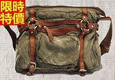 男女帆布包-時尚造型拼接可肩背真皮側背包2色5b32[巴黎精品]