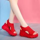 涼鞋女2021年夏季新款運動中跟坡跟鬆糕厚底學生百搭休閒平底女鞋 快速出貨