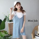 短袖裙裝 兩件式素面T恤+V領抽鬚不對稱牛仔吊帶裙 小豬兒 Mini Jule【KUB81000823】