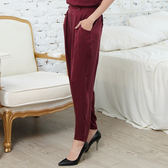 闕蘭絹 設計感酒紅色蠶絲褲 - 6420