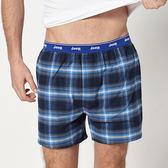 【JEEP】五片式剪裁 純棉平口褲 (深藍格紋)