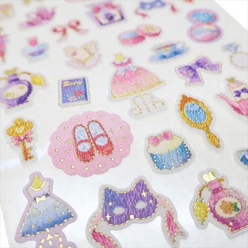 日本製金箔鑲飾仿刺繡系列貼紙(女孩小物)★funbox★KAMIO_KM08495