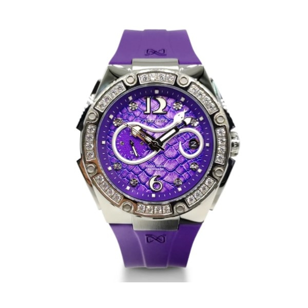 【NSQUARE】SNAKE QUEEN系列施華晶鑽時尚機械橡膠腕錶-魔幻紫/L0472-N48.7/台灣總代理享兩年保固