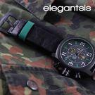 【萬年鐘錶】elegantsis 航母作戰精神 三環皮革 黑x灰  大錶徑 48mm ELJF48-OG01LC