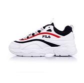 FILA RAY中性復古老爹鞋-白丈青紅 NO.4-C614S-123