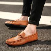 豆豆鞋男士休閒鞋男皮男鞋子皮鞋潮英倫潮流一腳蹬懶人鞋  蘿莉小腳ㄚ