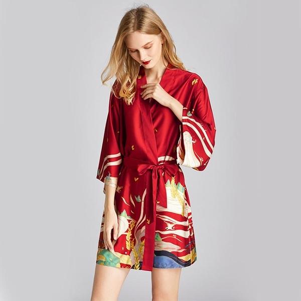 浴袍女日式和風晨袍冰絲睡袍女春秋寬鬆睡衣薄款性感大碼浴衣睡裙晴天時尚