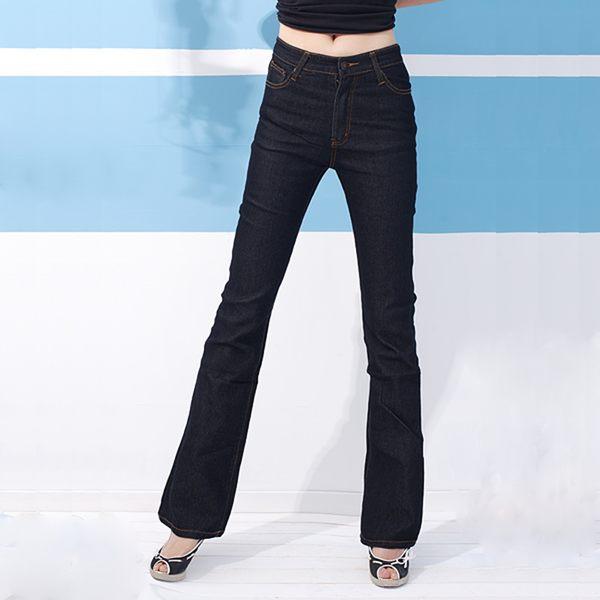 顯瘦--再創窈窕細身曲線-復古黑藍色瘦排骨中腰合身小喇叭牛仔褲(S-7L)-N88眼圈熊中大尺碼★