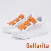 bellarita.造型魔鬼氈拼接厚底休閒鞋(9904-68橘白色)