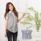 襯衫--青春洋溢腰際綁帶蝴蝶結抽繩格紋短袖襯衫(黑.藍M-2L)-H83眼圈熊中大尺碼
