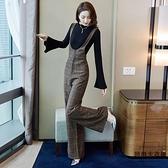 大碼背帶連體褲套裝女闊腿褲兩件套【時尚大衣櫥】