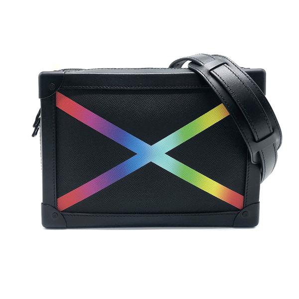 【台中米蘭站】全新展示品 Louis Vuitton SOFT TRUNK 彩虹標誌軟箱斜背包(M30341-黑)