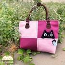 側背包~啵啵貓日系貓咪包 啵啵貓格子趣側背包/肩背包/手提包/拼布包包