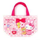Hello Kitty手提袋 白色圓點抱...