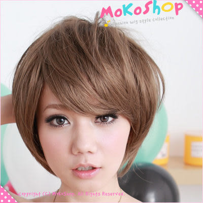 *MoKoShOp*小可愛斜瀏海BOB頭短髮全頂假髮【LYFFHHF】