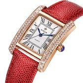 手錶 時尚女錶 真皮皮帶錶 鑲鑽手錶【非凡商品】w143