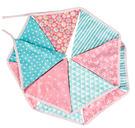 【韓風童品】12片粉藍印花棉布三角旗 拍照背景佈置 露營 戶外野營 帳篷裝飾 婚慶典禮三角旗