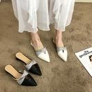 快速出貨 社會半托鞋網紅女 夏季 法式粗跟潮尖頭奶奶外穿包頭半拖鞋